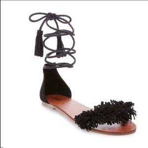 Black fringe sandals